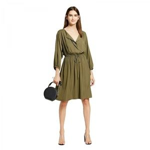 NWT Mossimo Shirred Waist Dress Small Olive